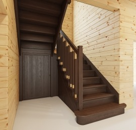 Прямые лестницы из ясеня